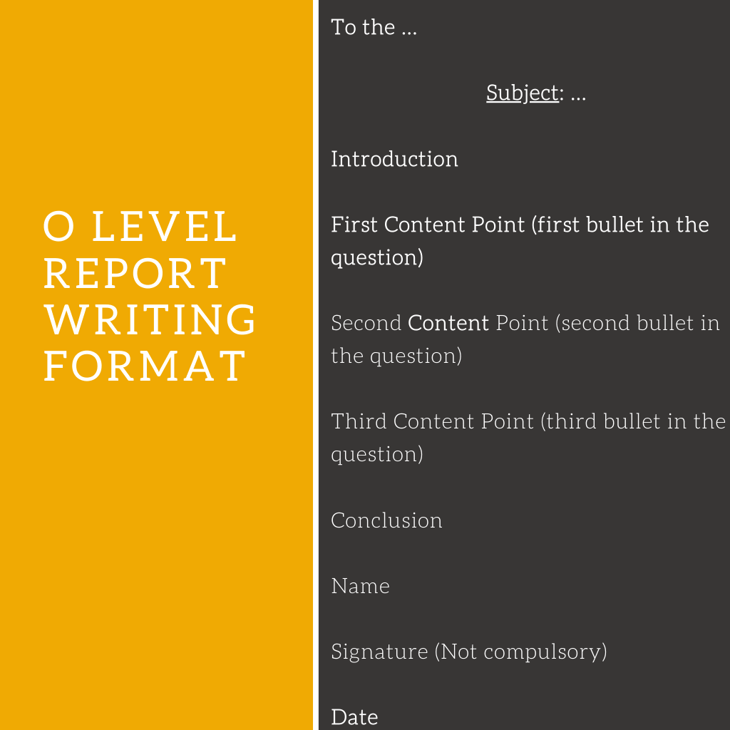 O Level Report Writing Sample