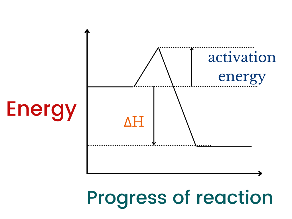 energy changes (exothermic)