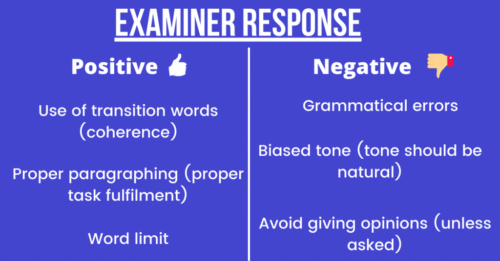 examiner report for account writing